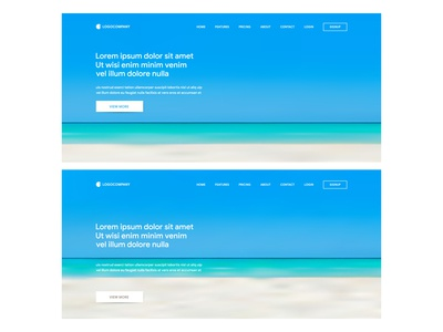 Website template design and landing page with gradient mesh