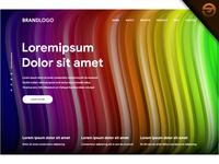 Creative design with fluid colorful shapes of landing page