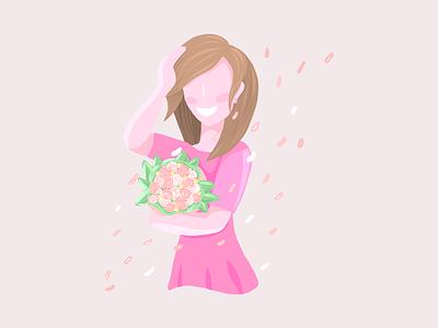 Happy girl leaves brunette smile roses happy flowers illustration pink