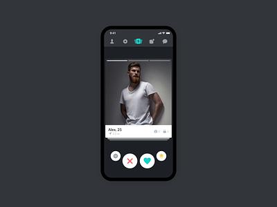 Surge Home Screen ui interaction design swiping home screen interaction dark mode dark dark ui dating app