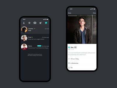 Surge User Profile & Chat dating app user profile chat dark ui dark interaction design interaction motion ui