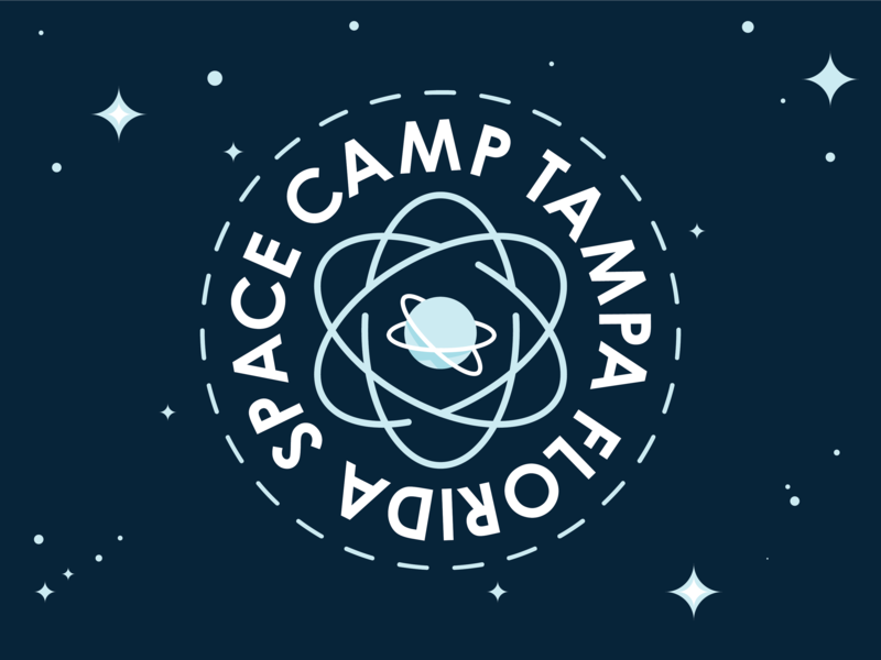 Space Camp branding app uiux ui icon vector badgedesign badge illustration camping science planet tampa florida flat type typography space design