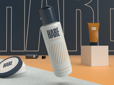 Men's HARE Products shampoo hair design icon type typography packaging product design branding logo illustration