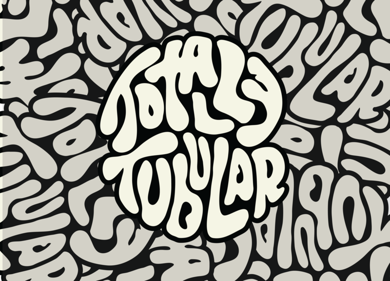Totally Tubular V2 outdoors sun sticker liquid river camp trippy hippy rafting summer vector illustrator badge lettering illustration typography logo icon branding design