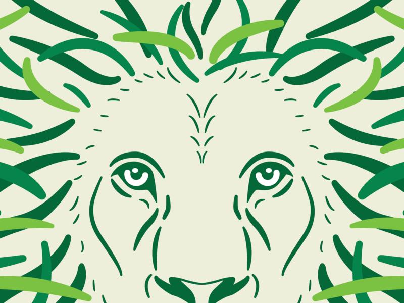 Lion animal lion king africa safari green illustration vector color illustrator flat logo icon branding design