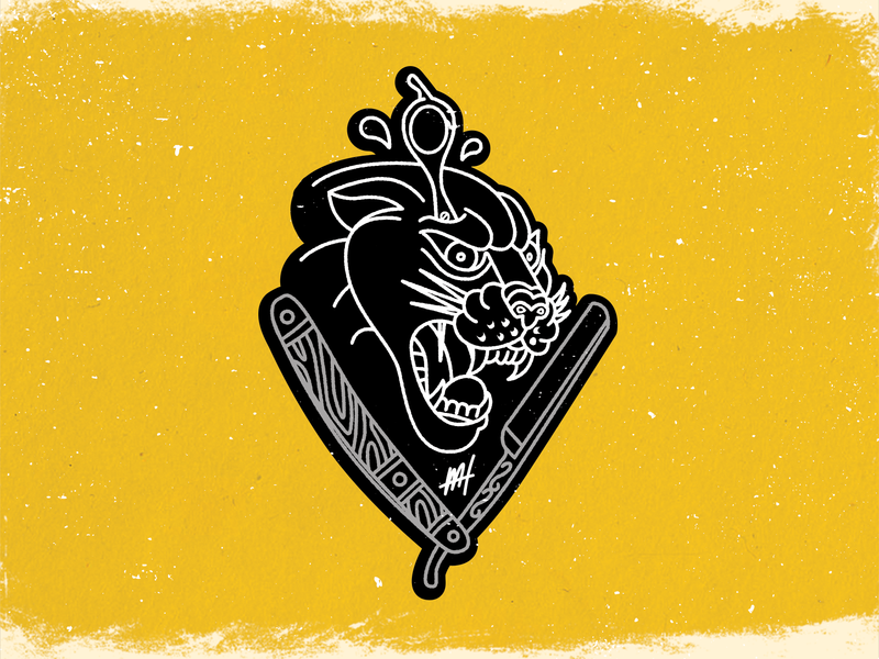 Traditional Tattoo Merch monoline paint traditional art traditional tattoo shears barber photoshop panther lion cat tattoo yellow color badge illustrator illustration logo icon branding design