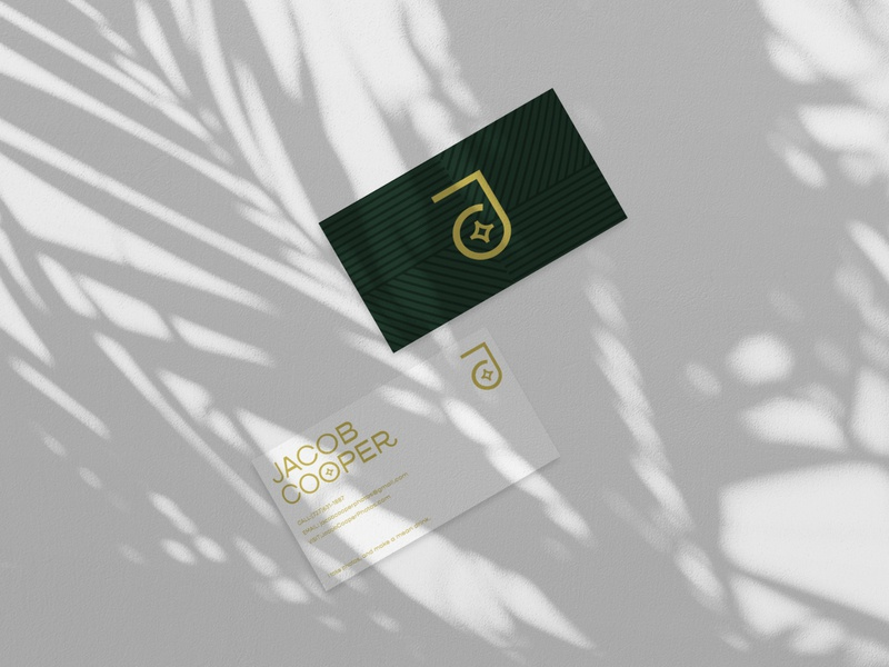 Business Cards - Jacob Cooper badge vector flash pattern shadow modern lettering typography gold green palm trees tropical branding logo photography design business cards