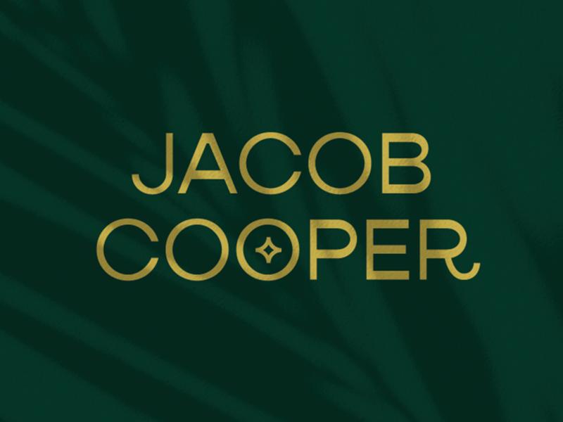 Jacob Cooper - Wordmark typeface flat floral greenery wordmark badge photography camera flash palmtree plants shadow gold green paradise type typography logo branding design