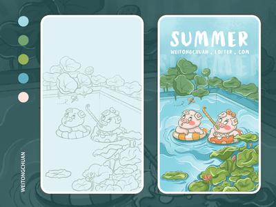 SUMMER-夏日戏水,欢天喜地鸳鸯猪🐖