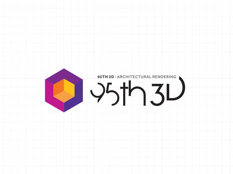 95th3D - Logo Design  branding 95th cube 3d logo 3d architectural logo logo design