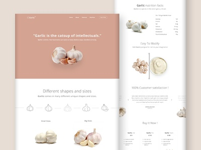 Product Landing Page  (Garlic) website design visual ui simple product garlic minimalistic page landing funny clean