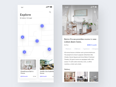 Rental Mobile App wishlist setting review rental price menu list android ios house clean app