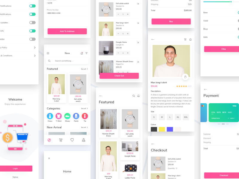 Nova E-commerce UI Kit scout vector creative ecommerce e-commerce checkout pay card fashion app e-commerce app app typography ux ui design logo illustration
