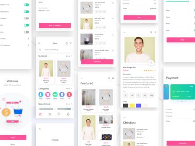 Nova E-commerce UI Kit scout vector creative ecommerce e-commerce checkout pay card fashion app e-commerce app app typography ux ui design logo illustration
