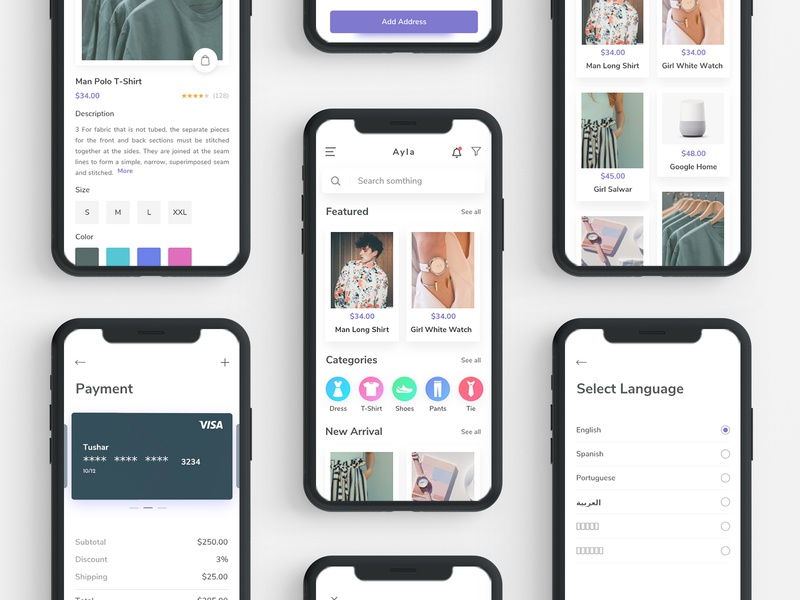 Ecommerce UI Kit daily ui ux material vector ecommerce e-commerce fashion app scout clean typography android illustration navigation bar ios ui e-commerce app design creative checkout pay card app animation app