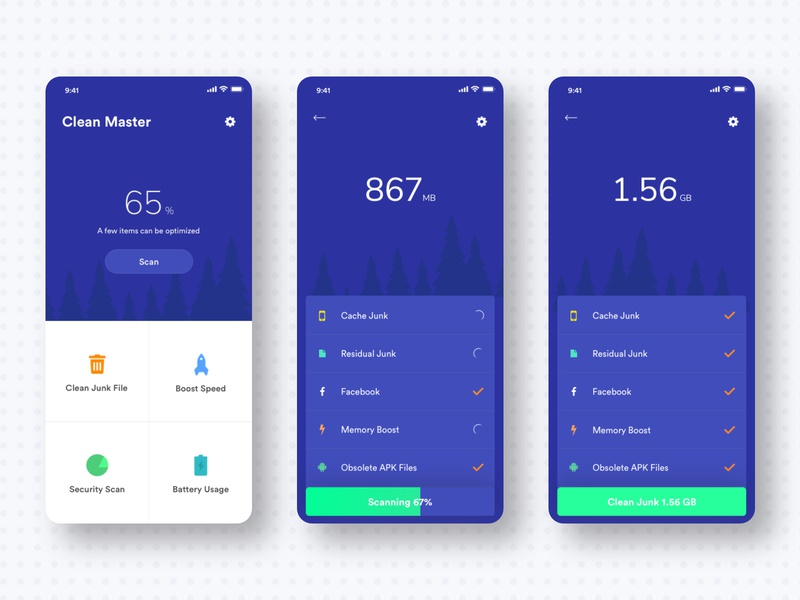 Clean Master App UI V.1 statistics vector material mobile icon iphone blue illustration dashboard dribbble typography security app clean gradient android design app ios ux ui