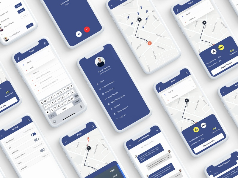 Bingo App UI Kit walktrough typography texi service app texi booking app taxi booking app taxi app ride sharing app ride booking app onboarding screen logo app design ios gradient dribbble debut dribbble dribbbble best car booking app cab booking app android app design