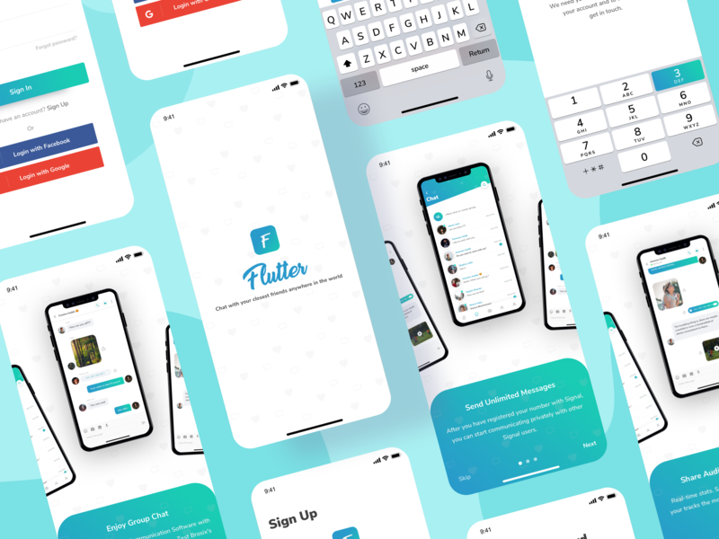 Flutter Messaging App UI Kit ui. ux ui audio app video app chat app message trendy design 2019 dashboard messager messaging app ui social app message ui kit message app app gradient design ios