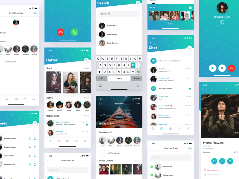 Flutter Messaging App UI Kit illustration application statistics web clean iphone gradient motion dashboard minimal mobile android mobile app design social app messaging app chat app message app app ios ui