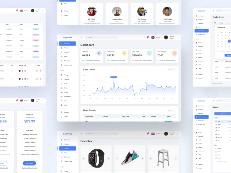 Bright Web Dashboard UI Kit dribbble android iphone gradient dashboard app design ios ux ui