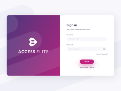 Sign in Screen for Accesselite