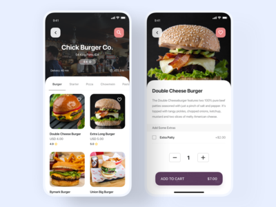 Restaurant and Food Details Screen