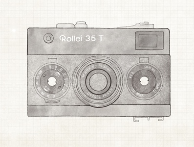 Rollei 35 T vintage film film camera camera digital graphics ipad drawing design procreate illustration