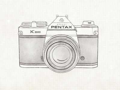 Pentax K 1000  1976 digital illustration vintage procreate ipad illustration graphics film camera film drawing digital design camera