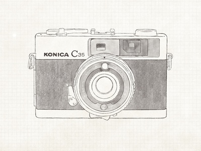 Konica C35  1968 vintage film camera film camera digital graphics ipad drawing design procreate illustration