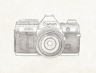 Canon AE 1  1976 vintage film camera film camera vector digital graphics ipad drawing design procreate illustration