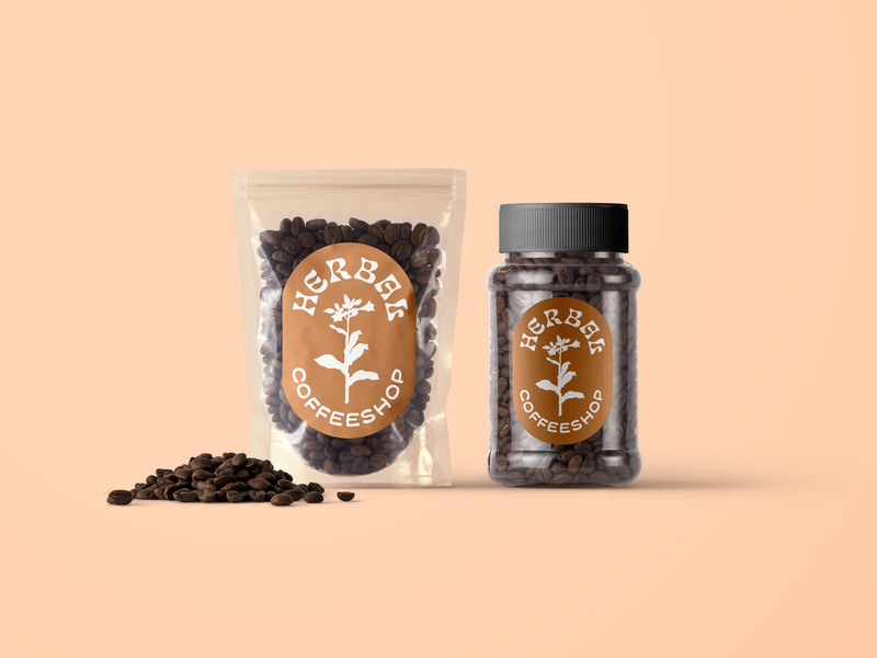 Herbal Coffee Shop Logo brand identity design logodesign logos logo 70s 60s psychedelic nouveau natural nature plants plant tobacco coffee coffeeshop