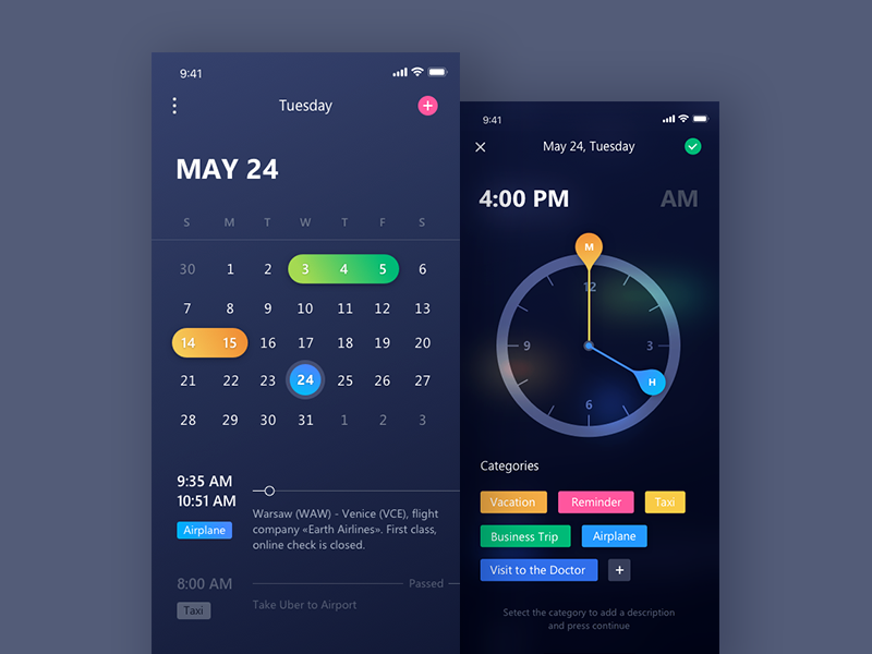 Your Personal Assistant ui ios fireart studio dark clock fireart picker dark interface iphone x calendar