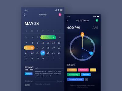 Your Personal Assistant ui ios fireart studio dark clock fireart picker dark interface iphone x calendar