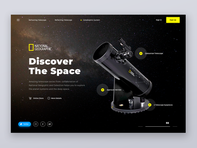 Discover the Space with National Geographic galaxy national geographic space web interface telescope stars fireart cosmos application