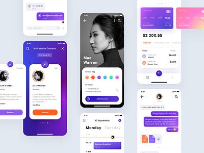 Mobile Application UI Kit banking app credit card cards action sheet calendar messanger pink dashboard purple ios app ios11 ios ux design ui design ui kit