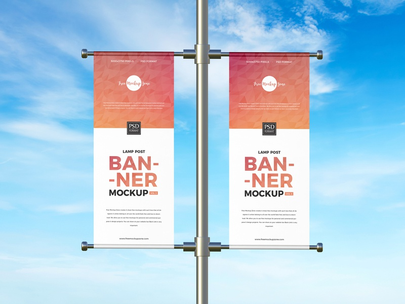 Free Lamp Post Banner Mockup psd print template stationery mockups mockup design identity freebie free banner mockup banners mockup mockup psd mockup free free mockup mock-up mockup download branding