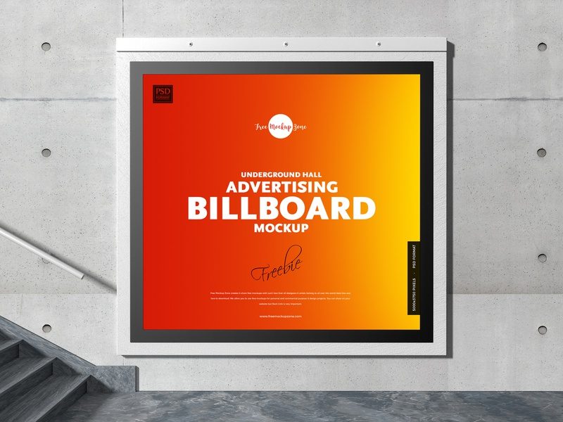 Free Underground Hall Billboard Mockup psd print template stationery mockups logo identity freebie free billboard mockup banner mockup mockup psd mockup free free mockup mock-up mockup frame font download branding