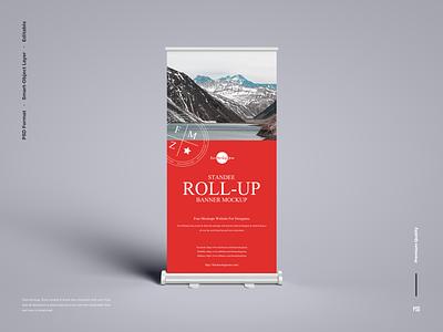 Free Banner Roll-Up Mockup roll-up mockup