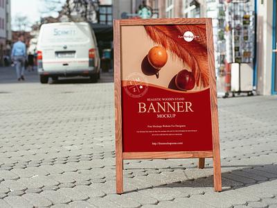 Free Wooden Stand Banner Mockup frame mockup