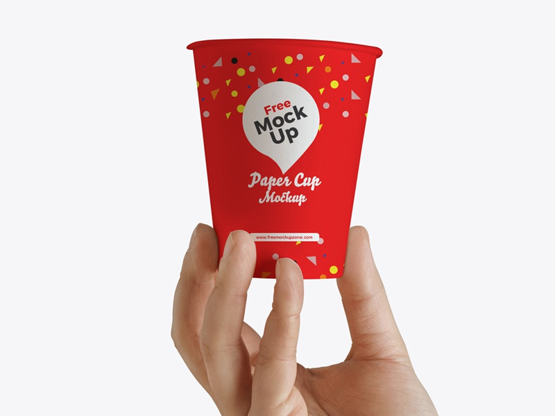 Free Hand Up Holding Paper Cup Mockup