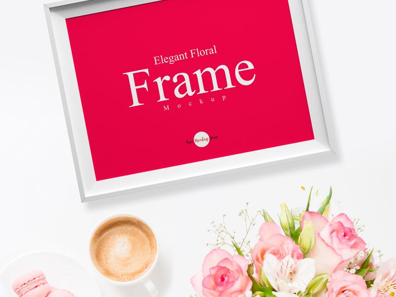 Free elegant floral frame psd mockup