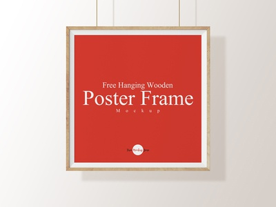 Free Hanging Wooden Poster Frame Mockup Psd Template