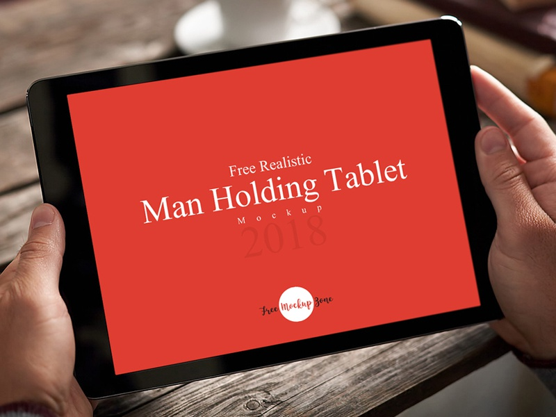 Free Realistic Man Holding Tablet Mockup mockup template free psd mockup freebie free mockup mockup free psd mockup mockup tablet mockup