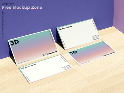 Free Business Card On Wooden Floor Mockup For Branding
