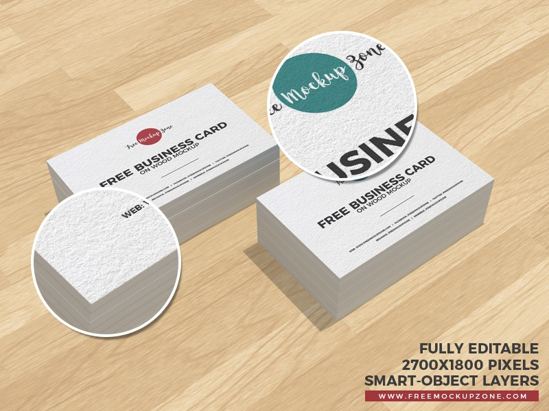 Free Business Cards on Wood Mockup by Free Mockup Zone - Dribbble