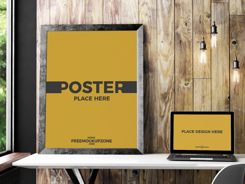 Free laptop with poster frame mockup