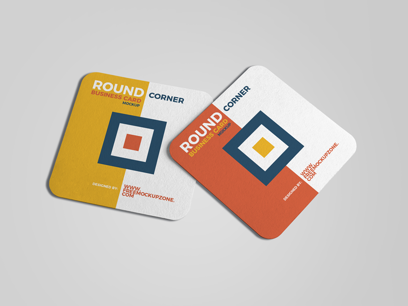Free square round corner business card mockup preview image
