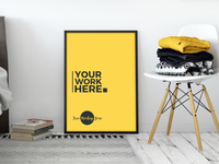 Free Room Interior Standing Poster Mockup