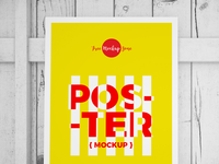 Free Standing Poster On Wood Mockup 2018
