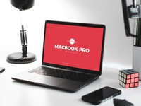 Free Design Studio MacBook Pro Mockup Psd